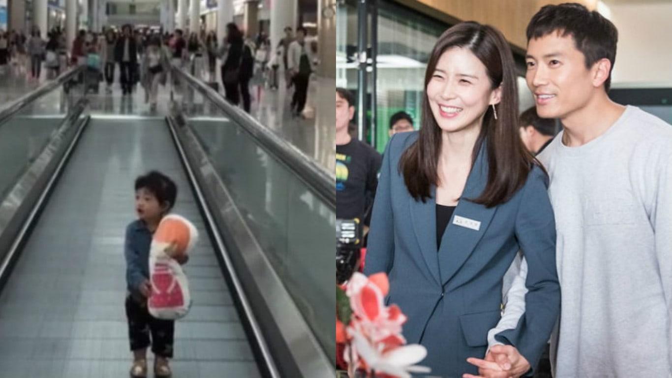 Ji Sung y Lee Bo Young comparten adorable momento de su hija Jiyu luciendo fascinada en el aeropuerto