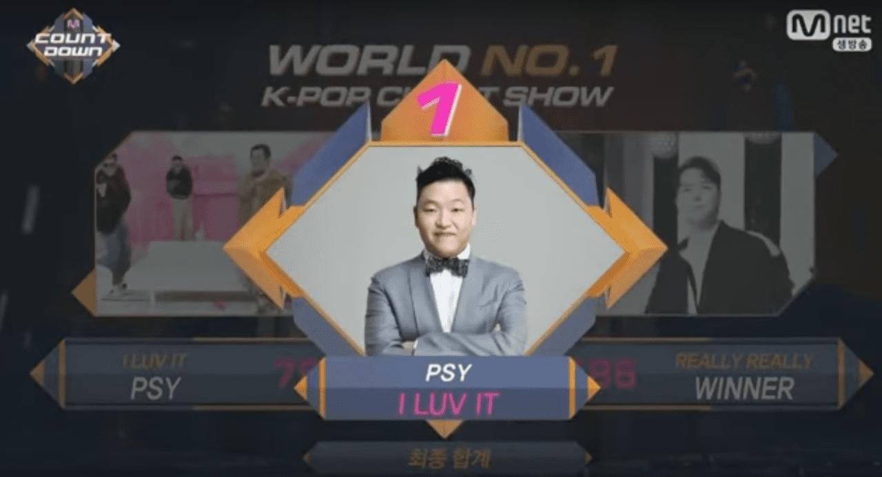 """PSY obtiene primera victoria con """"I Luv It"""" en """"M!Countdown"""" – Presentaciones de TWICE, VIXX, Roy Kim y más"""