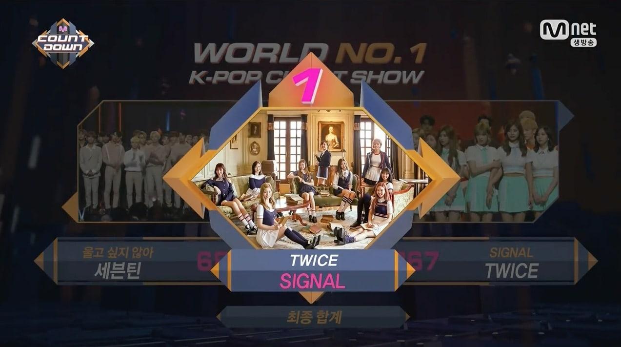 """TWICE consigue su séptima victoria para """"Signal"""" en """"M!Countdown"""", actuaciones de SEVENTEEN, SISTAR, Hyoyeon de Girls' Generation, y más"""