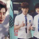 """Suho de EXO envía un camión de café al plató de """"School 2017"""" en apoyo a Kim Jung Hyun y Kim Hee Chan"""
