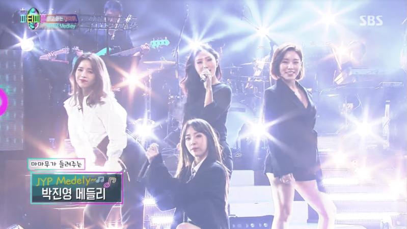 """MAMAMOO canta un popurrí de éxitos de Park Jin Young, """"Sexy Back"""" y más en """"JYP's Party People"""""""