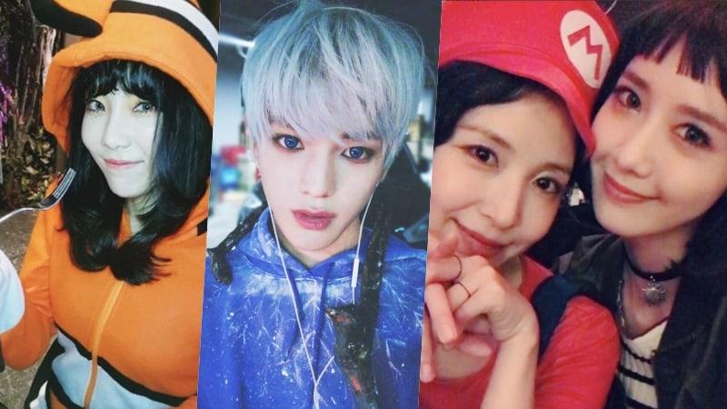 Ídolos de SM regalan a los fans divertidas imágenes de su fiesta de disfraces de Halloween