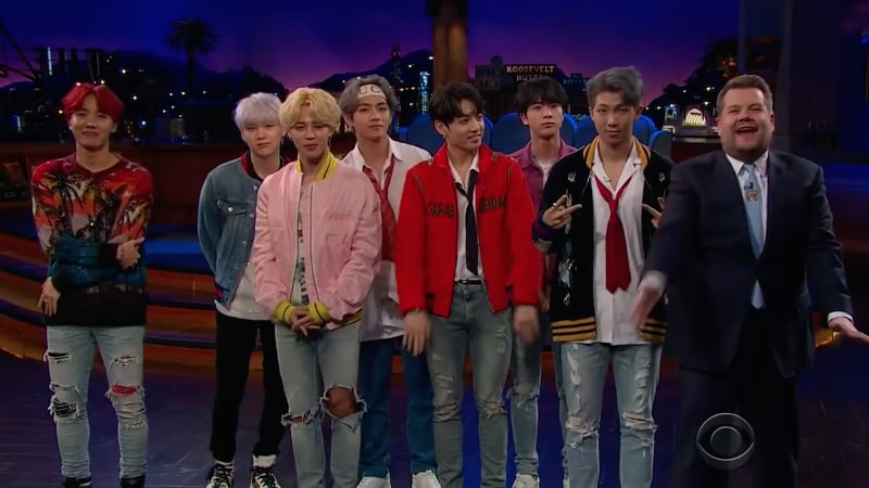 "BTS muestra impresionantes reacciones al jugar ""Flinch"" en ""The Late Late Show with James Corden"" e interpreta ""DNA"""