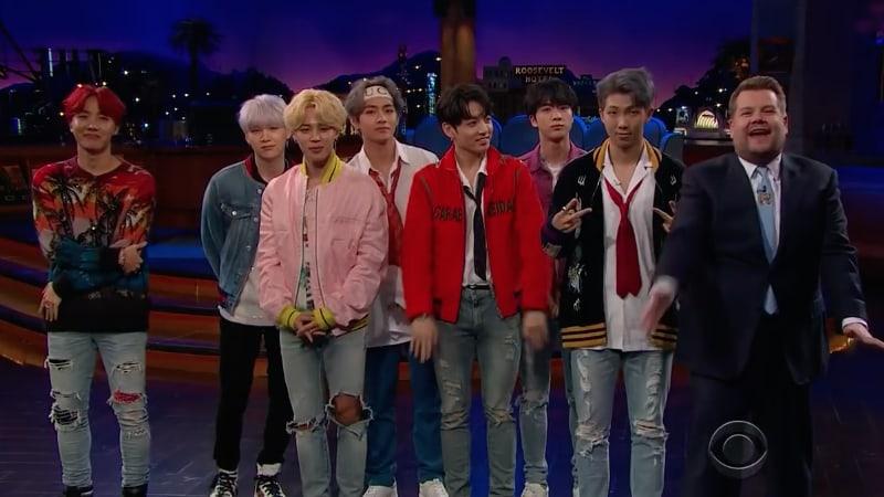 """BTS muestra impresionantes reacciones al jugar """"Flinch"""" en """"The Late Late Show with James Corden"""" e interpreta """"DNA"""""""