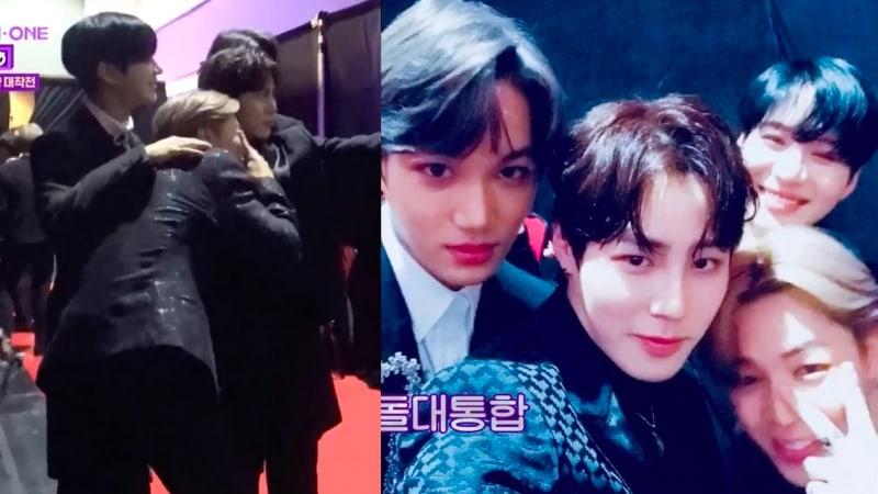 Ha Sung Woon de Wanna One se encuentra con sus amigos Taemin, Kai y Jimin en el backstage de 2017 MAMA