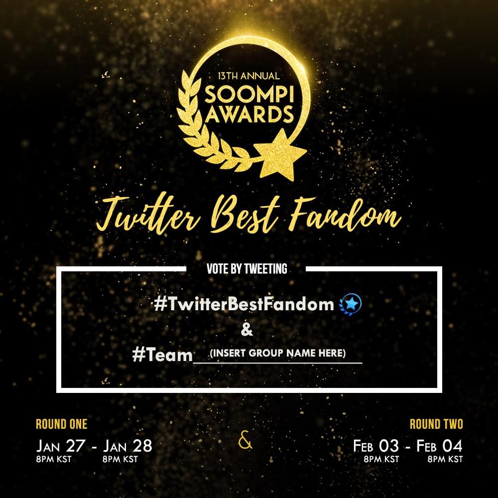 ¡Fandoms, unidos! Solo por 24 horas – ¡Vota en la segunda ronda en Twitter Best Fandom en los Soompi Awards!