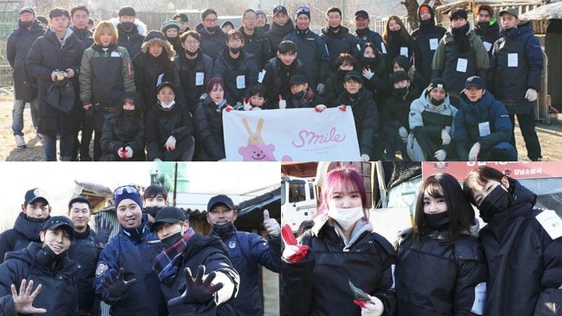 Artistas y empleados de SM Entertainment se ofrecen como voluntarios para entregar briquetas de carbón para el año nuevo