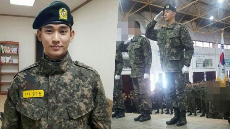 Kim Soo Hyun luce increíble en nuevas fotos reveladas de su entrenamiento militar