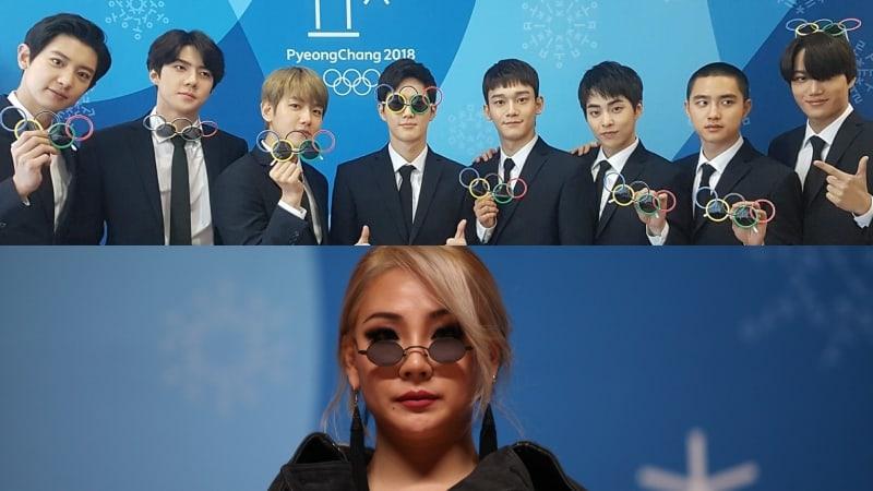 EXO y CL asisten a la conferencia de prensa antes de la ceremonia de clausura de los Juegos Olímpicos PyeongChang