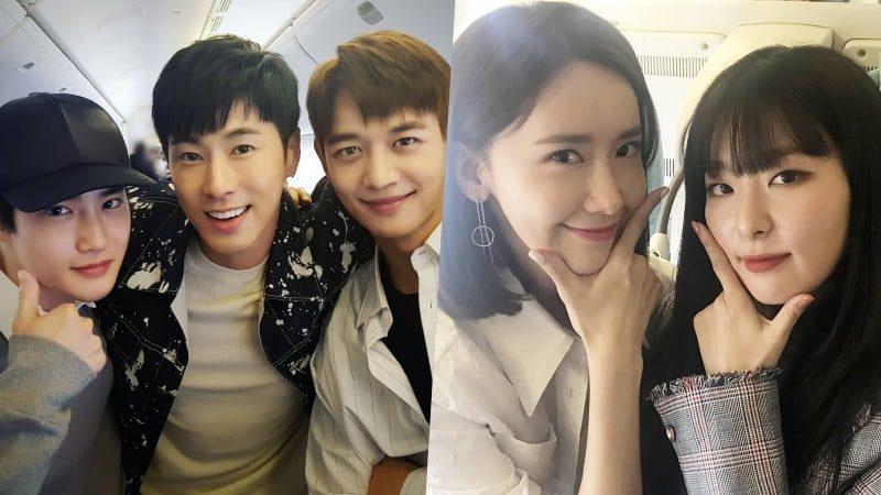 Los artistas de SM Entertainment posan juntos antes de volar a Dubai para ofrecer un concierto SMTOWN