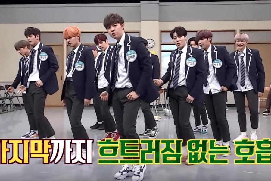 """Los chicos de Wanna One pasan de """"enérgico"""" a divertido mientras intentan bailar lentamente"""