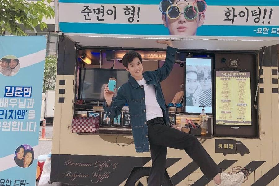"""Suho de EXO recibe un carrito de café de Byun Yo Han en el set de """"Rich Man, Poor Woman"""""""