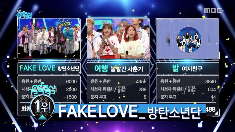 """BTS logra su 7ª victoria por """"Fake Love"""" en """"Music Core"""". Actuaciones de SHINee, AOA, Bolbbalgan4 y más"""