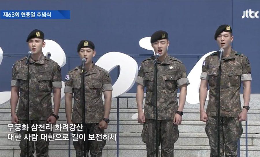 Ji Chang Wook, Im Si Wan, Kang Ha Neul y Joo Won lideran el himno nacional en el evento del Día de los Caídos