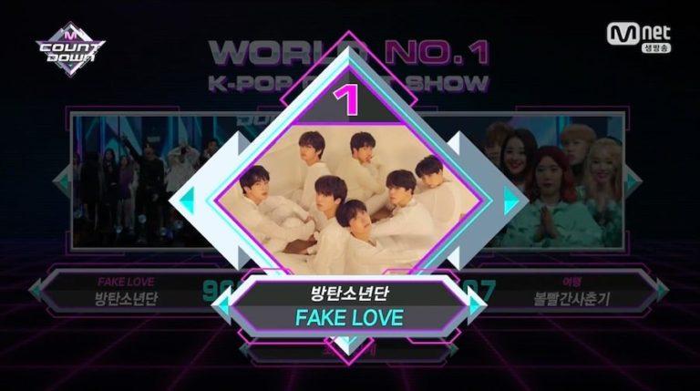 """BTS consigue novena victoria para """"Fake Love"""" en """"M!Countdown"""" actuaciones de SHINee, Wanna One y más"""