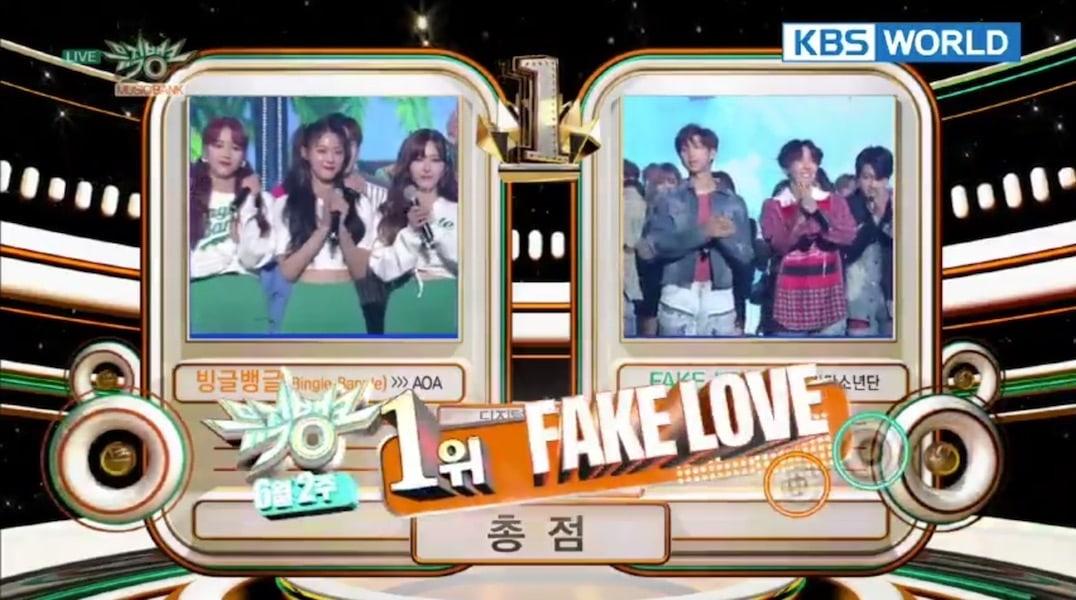 """BTS consigue su 10ª victoria con """"Fake Love"""" en """"Music Bank"""" y actuaciones de Wanna One, Yubin, SHINee y más"""