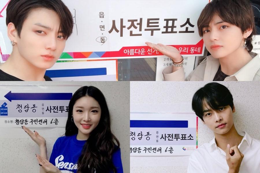 Las estrellas participan en la votación anticipada de las elecciones locales coreanas
