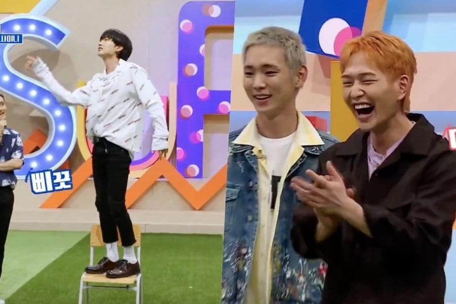 """Eunhyuk de Super Junior sorprende a SHINee con su versión del baile de la silla de """"Good Evening"""""""