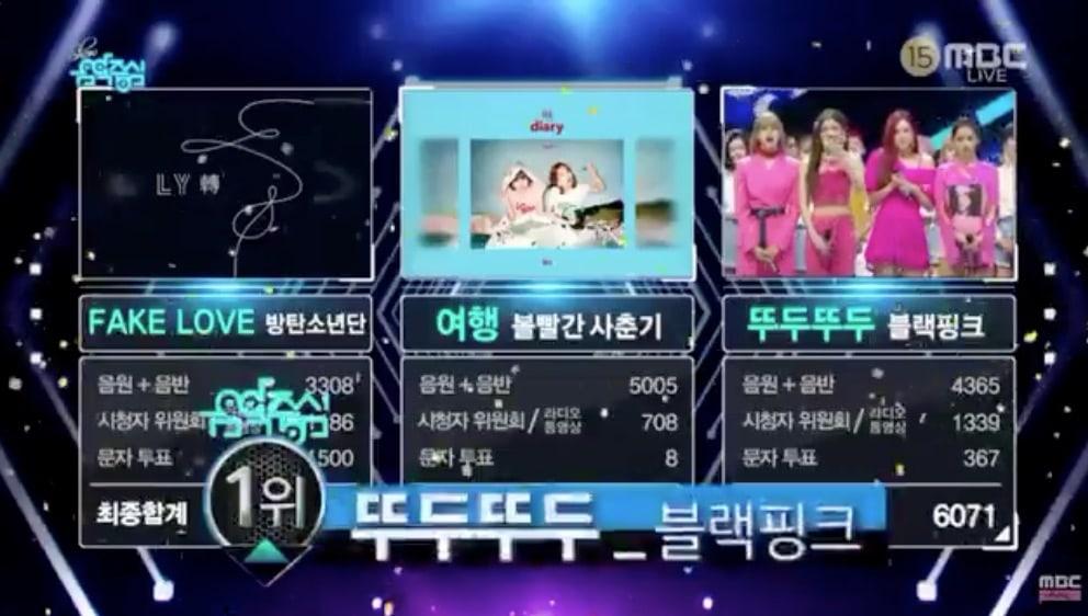 """BLACKPINK logra su 1ª victoria por """"DDU-DU DDU-DU"""" en """"Music Core"""". Actuaciones de BTOB, SHINee, Kim Dong Han y más"""