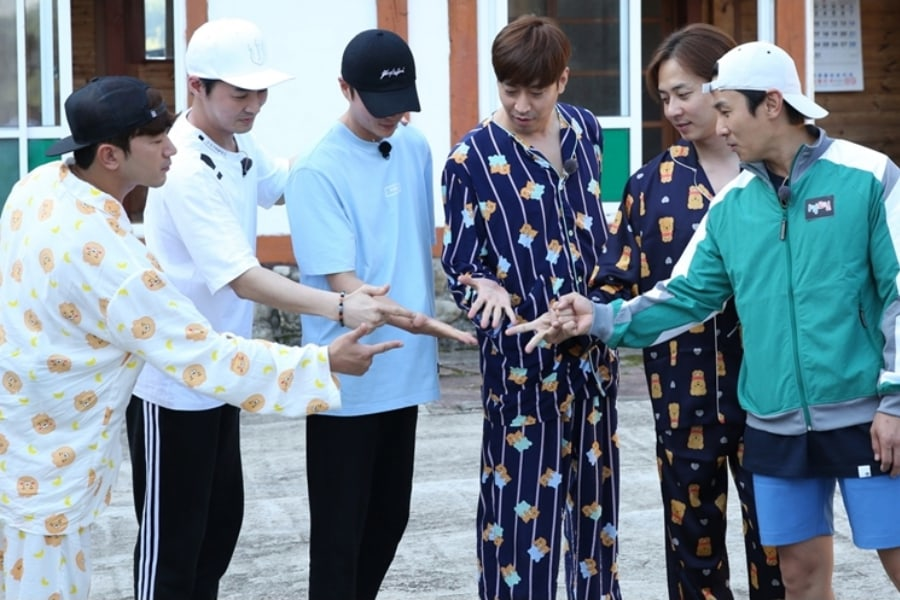 "Shinhwa muestra su lado adorable con pijamas a rayas en ""2 Days & 1 Night"""