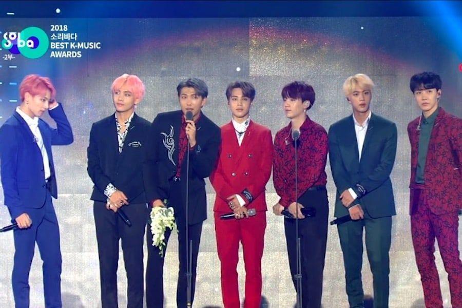 BTS gana el Daesang en los 2018 Soribada Best K-Music Awards
