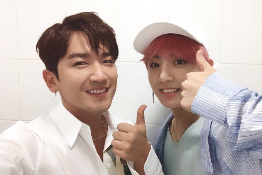 Lee Minwoo de Shinhwa y Jungkook de BTS se reúnen con emoción en camerinos