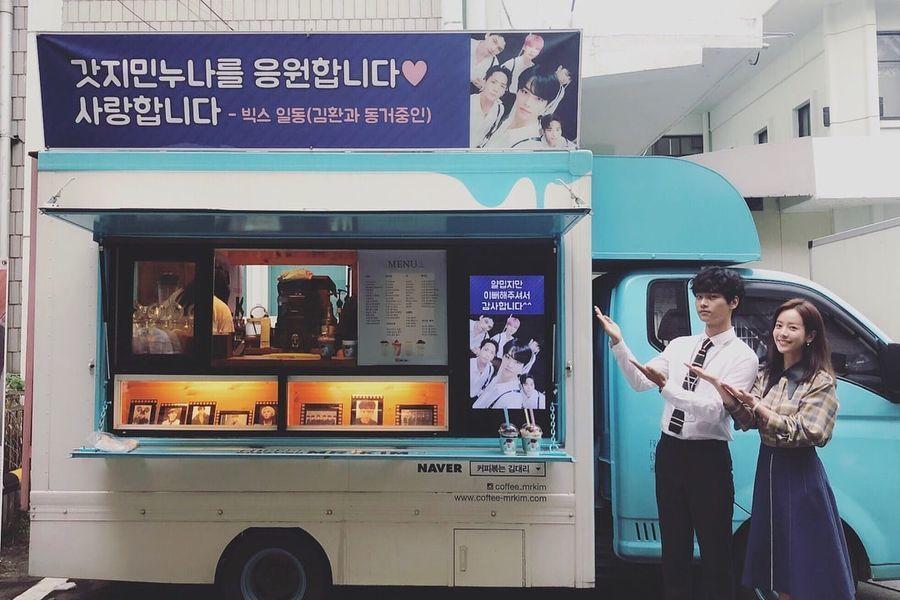 """VIXX sorprende al líder N y Han Ji Min con camión de café en el set de """"Familiar Wife"""""""