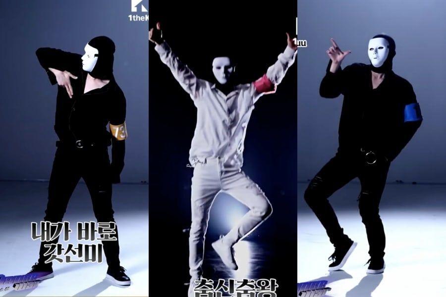 """Ídolos masculinos enmascarados bailan de forma juguetona canciones de grupos de chicas para """"Dance War"""""""