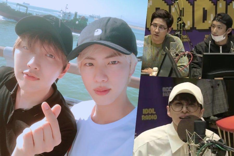 Jin de BTS, CNU y Gongchan de B1A4, Ken de VIXX y otros más felicitan a Sandeul por el 100º episodio de su programa de radio
