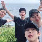 V de BTS comparte fotos de sus vacaciones con Park Seo Joon, Choi Woo Shik y más