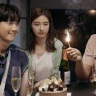 """Park Gun Il, Lee Na Eun y Ji Hyun Woo celebran con un pastel en """"Lonely Enough To Love"""""""