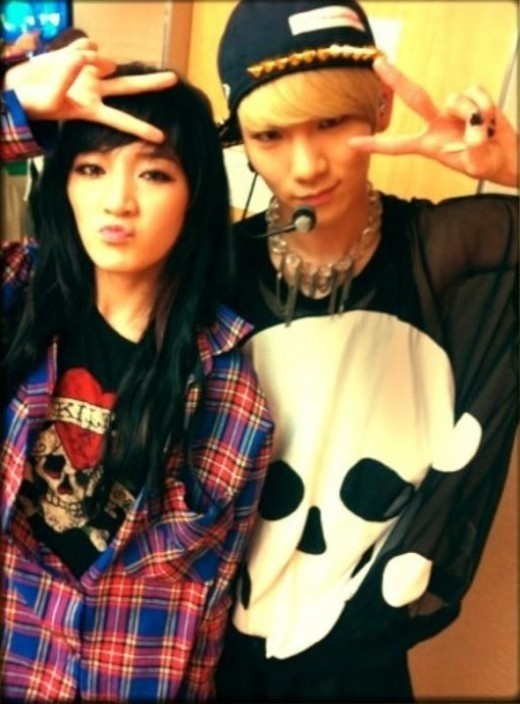 miss A Jia and Shinee Key's Couple Skeleton Look
