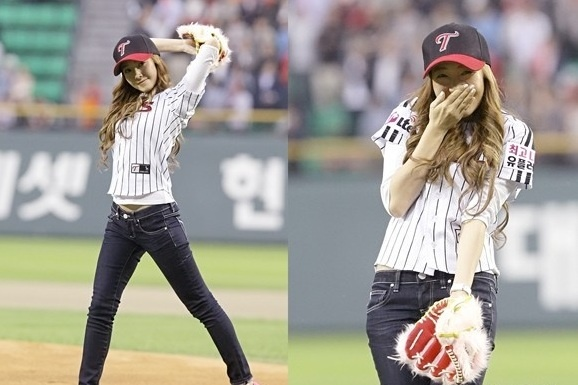 Girls' Generation Jessica's First Pitch Blooper Shown on U.S. Sports Blogs
